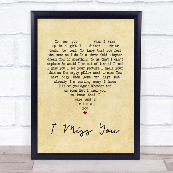 Incubus I Miss You Vintage Heart Song Lyric Print