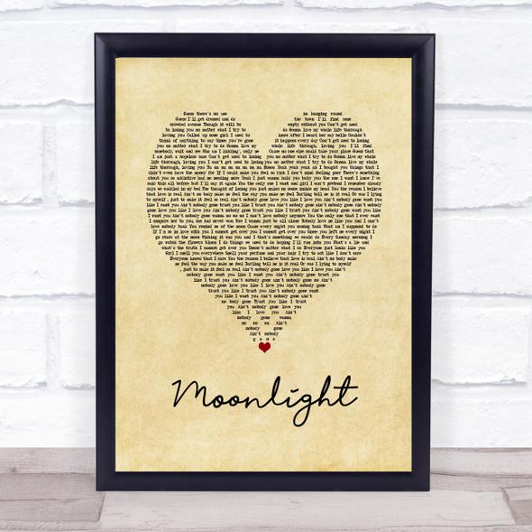 Ali Gatie Moonlight Vintage Heart Song Lyric Print