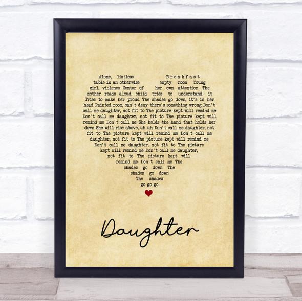Pearl Jam Daughter Vintage Heart Song Lyric Print