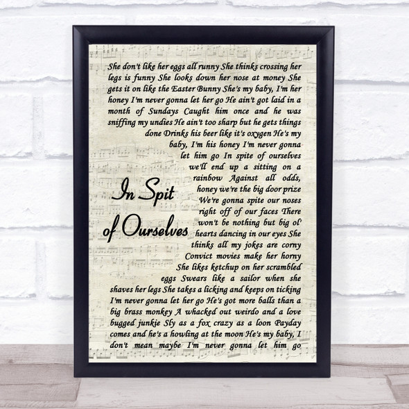 John Prine and Iris DeMent In Spite of Ourselves Vintage Script Song Lyric Print