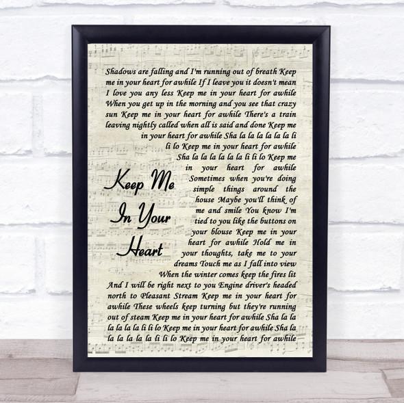 Warren Zevon Keep Me In Your Heart Vintage Script Song Lyric Print