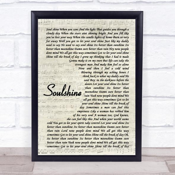Allman Brothers Band Soulshine Vintage Script Song Lyric Print