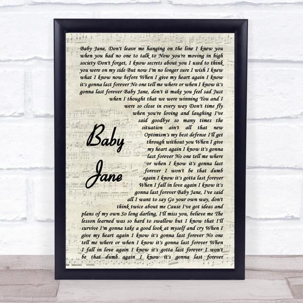 Rod Stewart Baby Jane Vintage Script Song Lyric Print