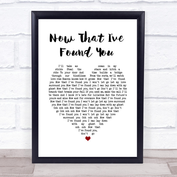 Liam Gallagher Now That I've Found You White Heart Song Lyric Print