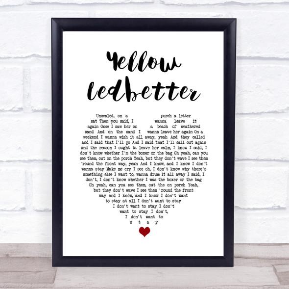 Pearl Jam Yellow Ledbetter White Heart Song Lyric Print