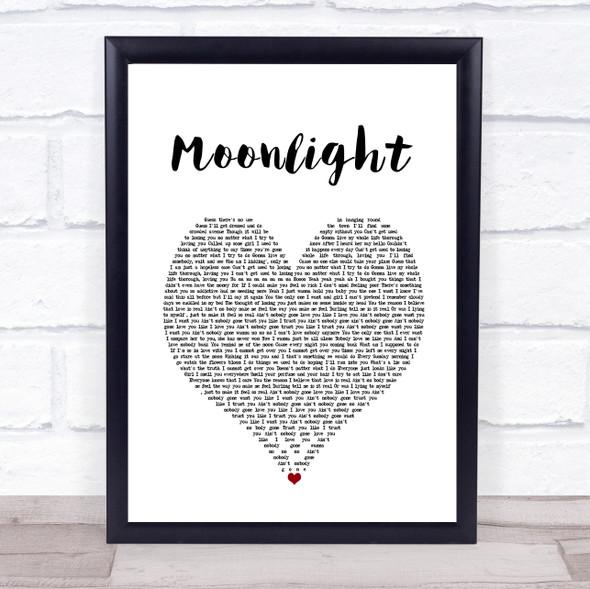 Ali Gatie Moonlight White Heart Song Lyric Print