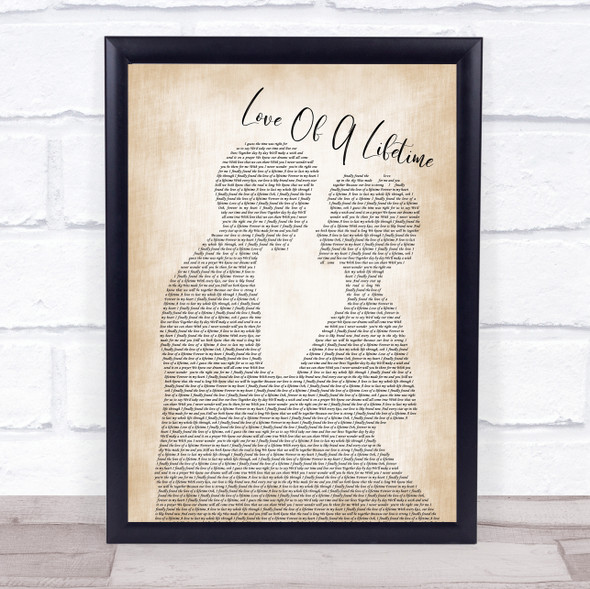 Firehouse Love Of A Lifetime Man Lady Bride Groom Wedding Song Lyric Quote Music Print