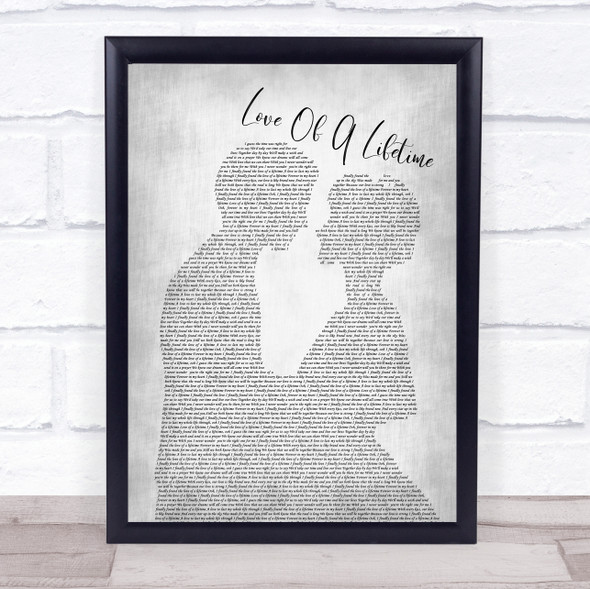 Firehouse Love Of A Lifetime Man Lady Bride Groom Wedding Grey Song Lyric Quote Music Print