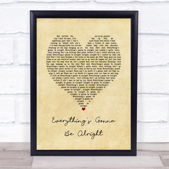 David Lee Murphy & Kenny Chesney Everything's Gonna Be Alright Vintage Heart Song Lyric Quote Music Print