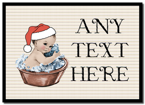 Vintage Xmas White Skin Boy in Bath Christmas Personalised Placemat