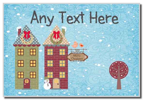 Christmas Town Houses Christmas Personalised Placemat