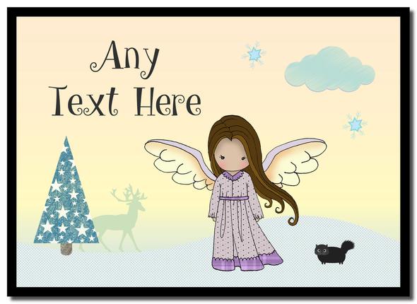 Angel Brown Hair Christmas Personalised Placemat