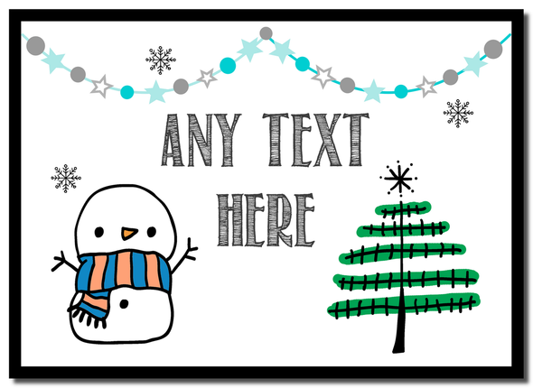 Snowman and Tree Christmas Personalised Placemat