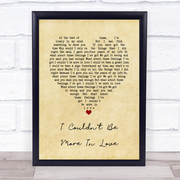 The 1975 I Couldn't Be More In Love Vintage Heart Song Lyric Quote Music Print