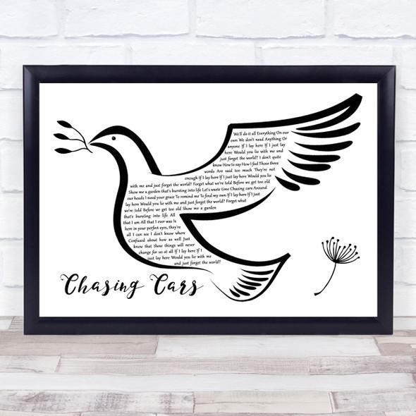 Snow Patrol Chasing Cars Black & White Dove Bird Song Lyric Quote Music Print