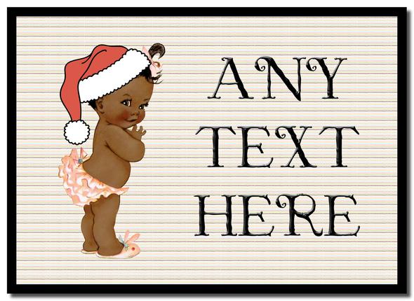 Vintage Xmas Brown Skin Girl Christmas Personalised Mousemat