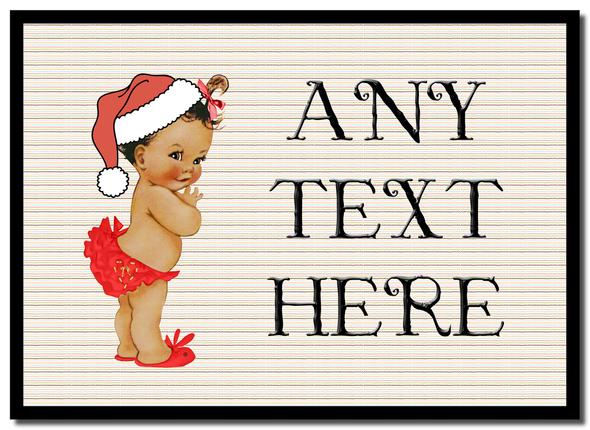 Vintage Xmas White Skin Girl Christmas Personalised Mousemat