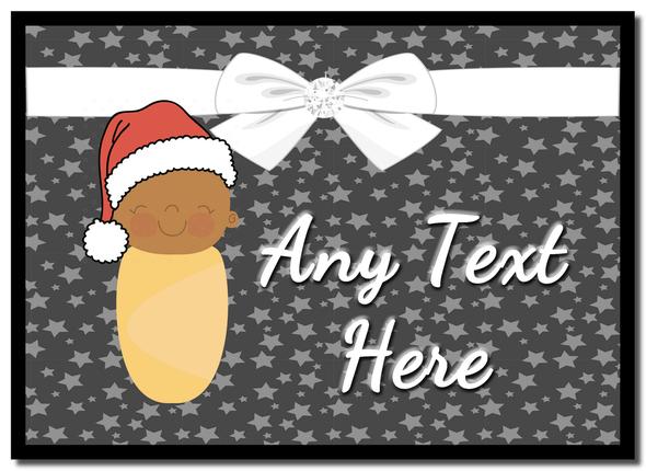 Xmas Brown Baby Christmas Personalised Mousemat