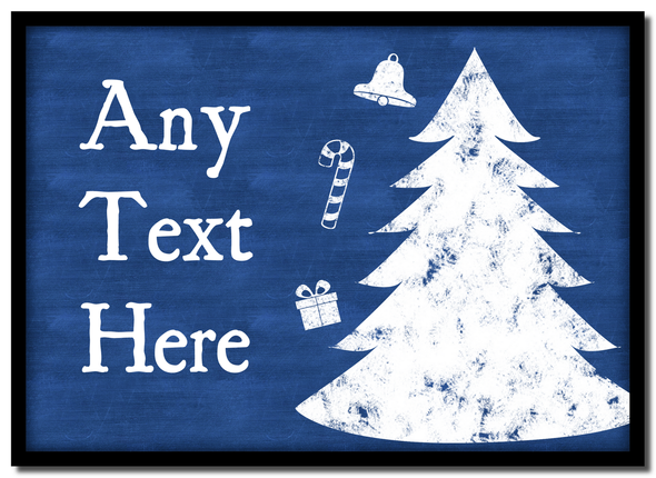 Blue Chalk Tree Christmas Personalised Mousemat