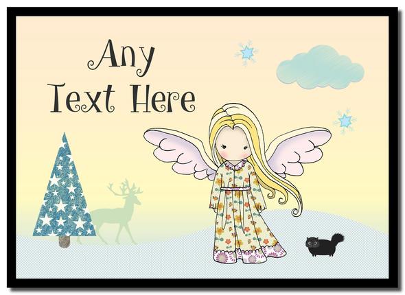 Angel Blond Hair Christmas Personalised Mousemat