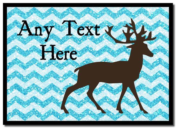 Reindeer Blue Glitter Christmas Personalised Mousemat