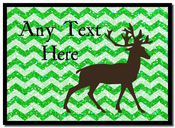 Reindeer Green Glitter Christmas Personalised Mousemat
