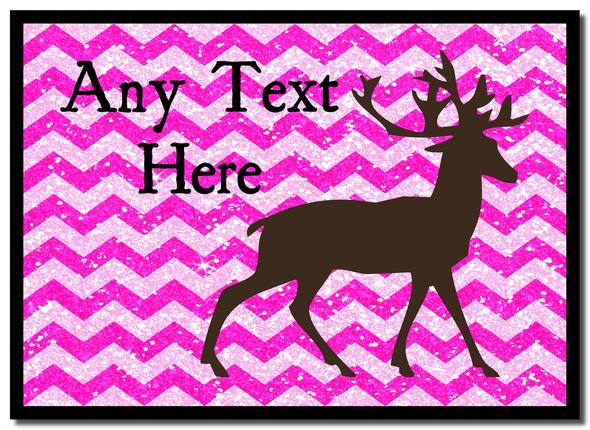 Reindeer Pink Glitter Christmas Personalised Mousemat