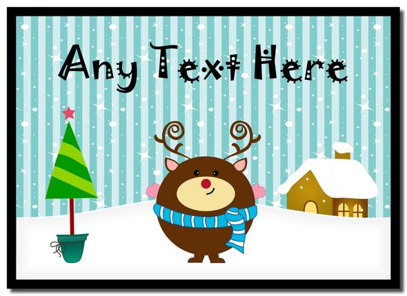 Reindeer Winter Scene Christmas Personalised Mousemat