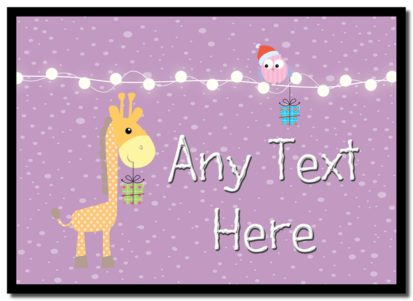 Giraffe and Present Christmas Personalised Mousemat
