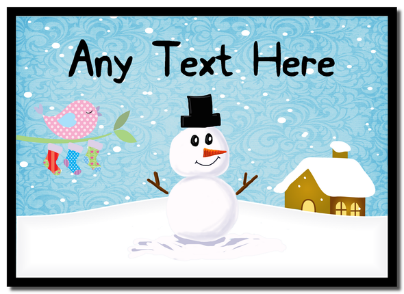 Snowman and Bird Singing Christmas Personalised Mousemat