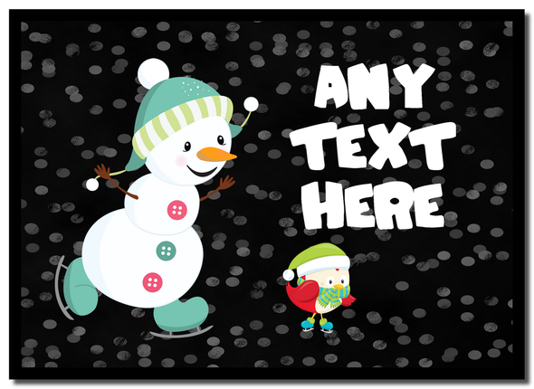 Snowman Ice Skating Christmas Personalised Mousemat