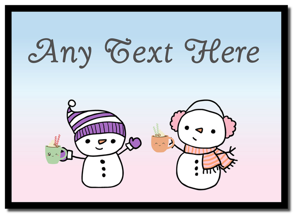 Snowmen and Hot Choc Christmas Personalised Mousemat