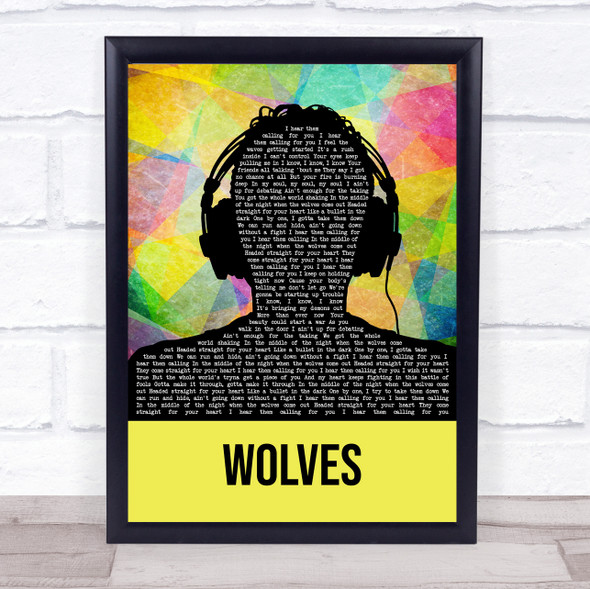 One Direction Wolves Multicolour Man Headphones Song Lyric Quote Music Print