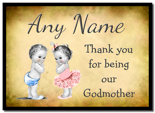 Vintage Baby Twin Boy & Girl Godmother Thank You  Personalised Mousemat