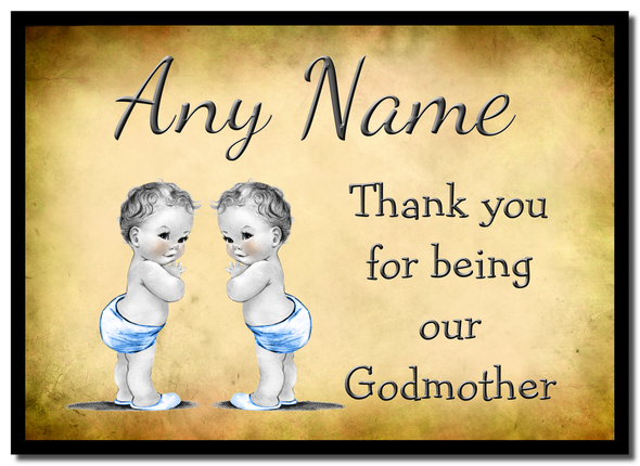 Vintage Baby Twin Boys Godmother Thank You  Personalised Mousemat