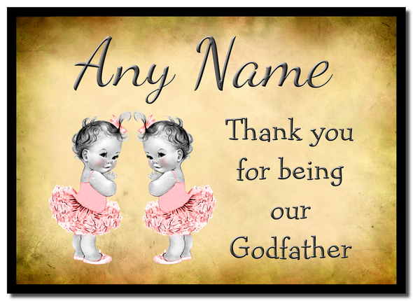 Vintage Baby Twin Girls Godfather Thank You  Personalised Mousemat