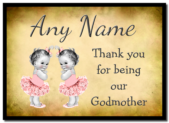 Vintage Baby Twin Girls Godmother Thank You  Personalised Mousemat