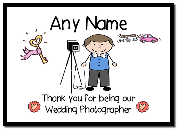 Thank You For Being Our Wedding Photographer Male  Personalised Mousemat
