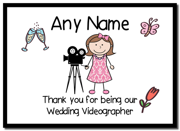 Thank You For Being Our Wedding Videographer Female  Personalised Mousemat