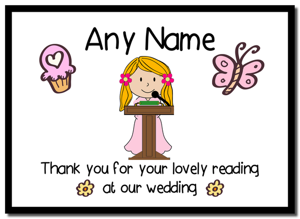 Thank You For Doing A Reading At Our Wedding Girl  Personalised Mousemat