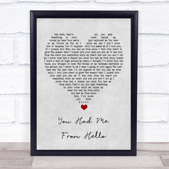 Kenny Chesney You Had Me From Hello Grey Heart Song Lyric Quote Music Print