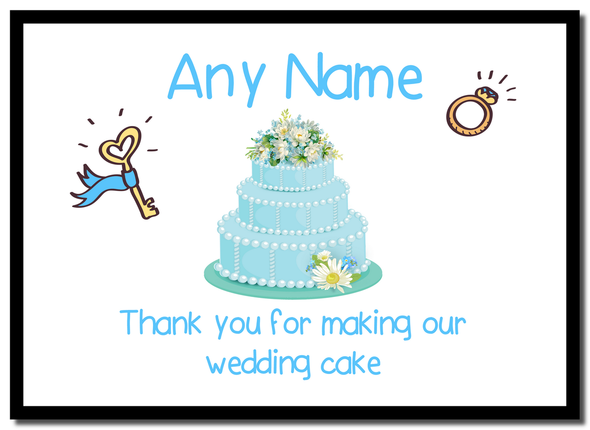 Thank You For Making Our Wedding Cake Blue  Personalised Mousemat