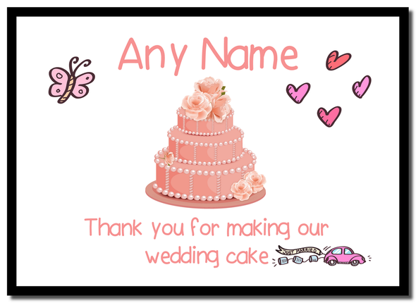 Thank You For Making Our Wedding Cake Coral  Personalised Mousemat