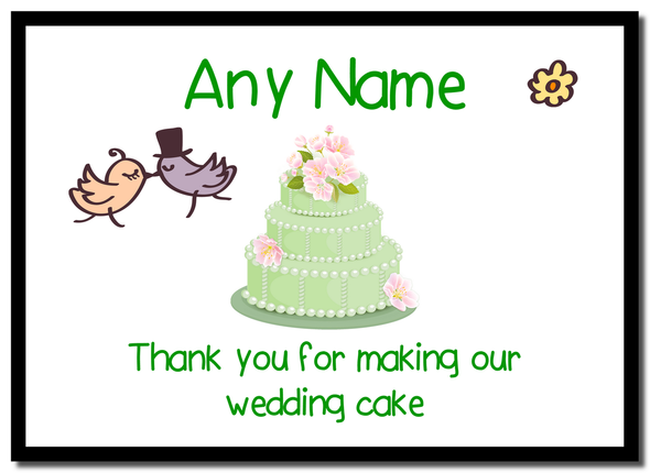 Thank You For Making Our Wedding Cake Green  Personalised Mousemat