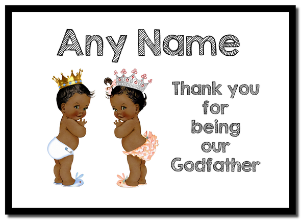 Baby Twin Black Boy & Girl Godfather Thank You  Personalised Mousemat