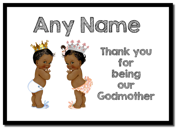 Baby Twin Black Boy & Girl Godmother Thank You  Personalised Mousemat