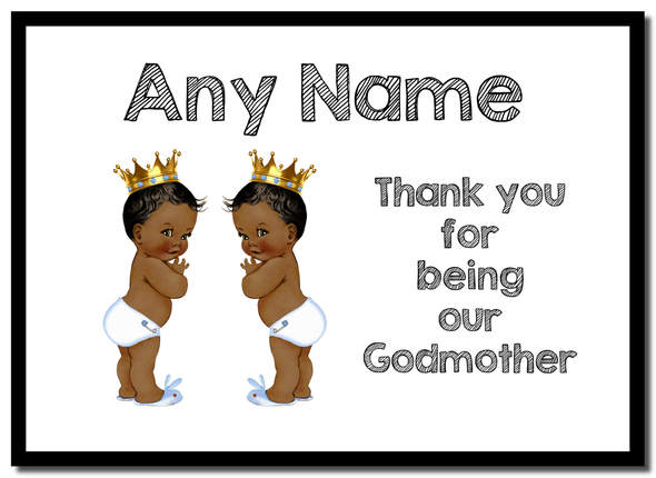 Baby Twin Black Boys Godmother Thank You  Personalised Mousemat