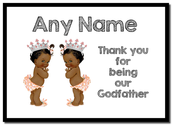 Baby Twin Black Girls Godfather Thank You  Personalised Mousemat