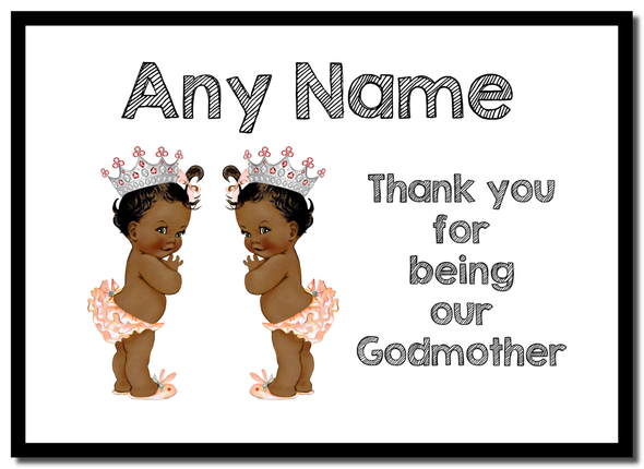 Baby Twin Black Girls Godmother Thank You  Personalised Mousemat