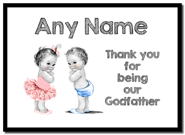 Baby Twin Boy & Girl Godfather Thank You  Personalised Mousemat